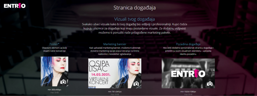 Prikaz vizuala događaja iz Entrio org panela.